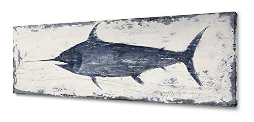 Yihui Arts Nautical Canvas Wall Art Animal Pictures Swordfish Prints Paintings Ancient Ocean Seascape Coatal Artwork for Living Room Decoration (12Wx36L)
