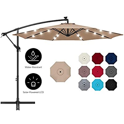 Best Choice Products 10ft Solar LED Offset Hanging Outdoor Market Patio Umbrella w/Easy Tilt Adjustment - Tan