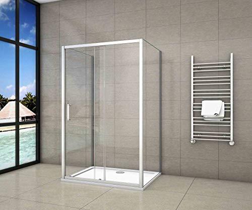 100x80x80x185cm Mampara de ducha,frontal hojas correderas + dos panel fijo lateral Cristal Templado 5mm