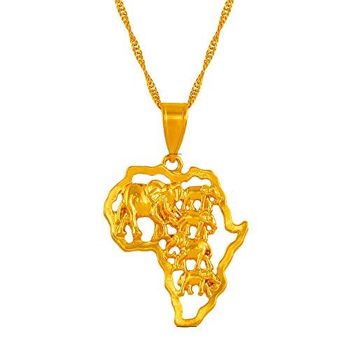 Revilium Color Oro África Mapea Cadena Colgante Collar con Elefante para Mujeres Hombres Etiopía Nigeria Mapa Africano Joyería 60Cm
