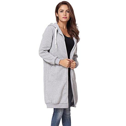 TWIFER Damen Winter Warm Reißverschluss Open Hoodie Jacke Sweatshirt Langer Mantel Outwear (L, Grau)