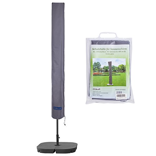 Schutzhülle für Sonnenschirm bis ca. Ø 400cm Premium Qualität aus hochwertigem 300GSM 600D Oxford Material - Grau