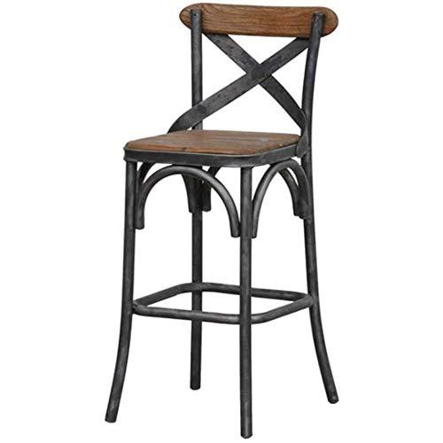 IJzeren hoge stoel retro barkruk massief houten stoel casual eetkamerstoel familiekeuken terras
