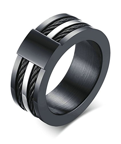 Daesar Joyería Hombre Anillo Compromiso Acero IP Negro Plata Cable para Hombres Biker Sortijas Negro, 1pc, Talla 27