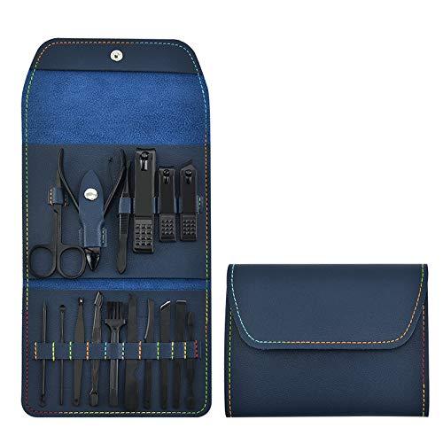 Set professionale per manicure e pedicure 16 in 1, in acciaio inox, per uomini, donne, bambini, forbici per unghie in acciaio inox, con custodia in pelle di lusso, blu