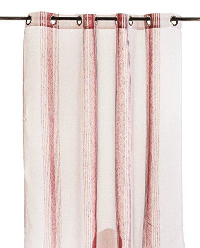 Street Home 66566 zonnegordijn len/polyester/metaal gestreept rood 140 x 250 cm