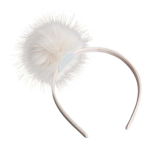 ACTLATI Lovely Cute Fashion Girls Headband Big Single Pompom Fur Fluffy Ball Hairband Party Masked Ball Hair Pins Headwear Hairband Off-white