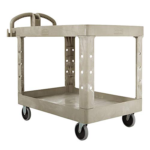 Rubbermaid Commercial Heavy-Duty Utility Cart, Ergo Handle, Flat Shelves, Medium, Beige (FG452500BEIG)