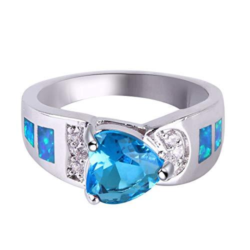 Anillos KELITCH para mujeres y niñas, incrustaciones de rugby, anillo de declaración de ópalo azul, joyería plateada para mujeres 58A-7