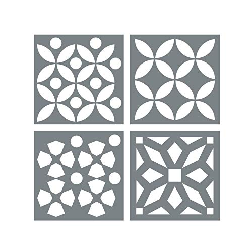 Morrocan Tile Stencil Set - Pack of Four 4x4 Tile Stencil Designs for Painting - Floor Stencils for Painting Tile - Stencil for Floor Painting