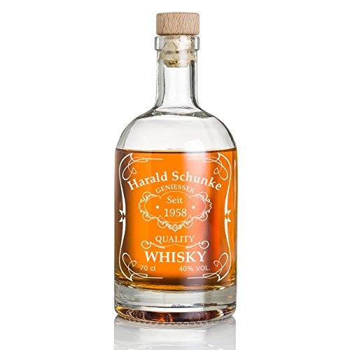 polar-effekt Personalisierte Whisky-Flasche 700 ml mit Gravur - Geschenk für Männer - Whiskey-Karaffe mit Korken - Motiv Quality Whisky