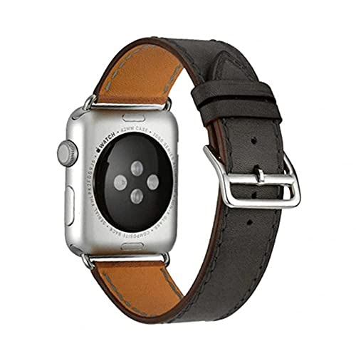 Correas de Cuero Compatible con Apple Watch Series SE 6/5/4/3/2/1,Repuesto Piel Reloj Correa para Hombres Mujeres para iWatch 40mm 38mm 44mm 42mm,Vintage Pulsera,Regolabile Watch Straps,Negro