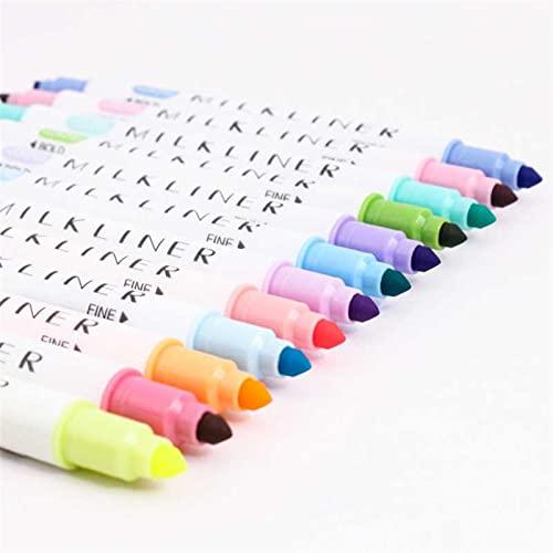 PPKZY 12 Colores/Set lámina de Plomo resaltador Dual Doble Cabeza Pluma Fluorescente Dibujo Marcador Pluma papelería Suministro de Escuela