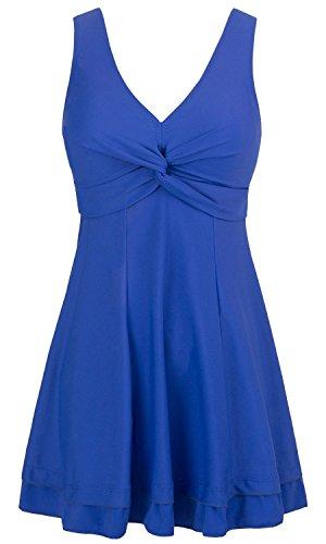 Wantdo Damen Strand Badeanzug Einteiliger Figurformender Blau 42-44