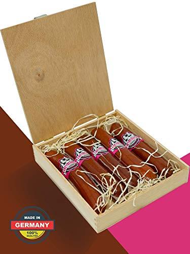 Salami Wurstzigarre in edler Geschenk-Box als lustiges Geschenk für Männer (NEUZUGANG) Freybergers® Veschber Stumbm für Fleisch-Geschenkideen | Mini Wurstsnack aus regionalem Fleisch (1x Box)