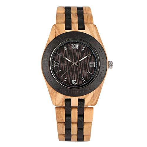 HBODHBGS Weinlese-hölzerne Uhr-beiläufige Quarz-Armbanduhr Voll Naturholz- Band Uhr Male Uhr-Mode-Männer Armreif am Handgelenk Watchs bamboo