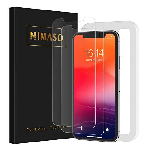 Nimaso iPhone11 Pro Max/Xs Max(6.5 インチ)用 強化ガラス液晶保護フィルム【2枚組】【ガイド枠付き】【日本製素材旭硝子製】(アイフォン11 Pro Max/Xs max 用)