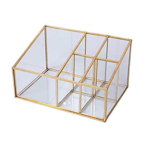 NIBABA Caja de Almacenamiento Transparente Caja de Almacenamiento cosmético de latón de restos de Escritorio para el hogar Creativo Accesorios de Almacenamiento de Joyas