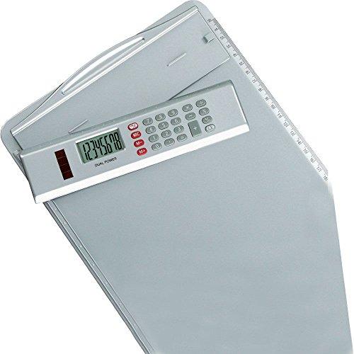 Alassio 0075 - Klemmbrett aus Kunststoff, silber, ca. 35 x 23 cm, Brett mit Klemme, Anlegeschiene und abnehmbaren Taschenrechner