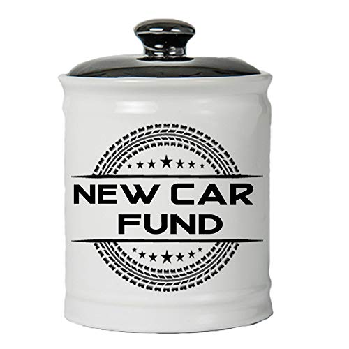 Cottage Creek Piggy Bank, New Car Fund Jar, Round Ceramic Car Coin Bank with Black Lid, Car Savings Piggy Bank [White]