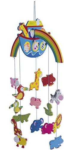 Bieco XXL Baby Mobile Arche Noah aus robustem Holz, Viele bunte Tiere und Blumen, Blickfang am  Babybett, Kinderbett, Wickeltisch oder am Spielbogen. Für Babys ab 0 Monaten, Mobile Baby