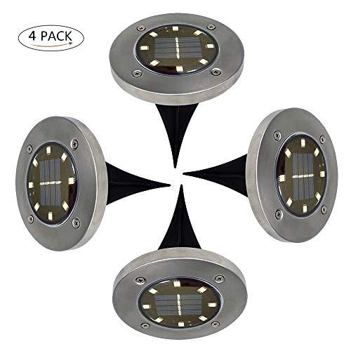 4 stuks 8 LED zonnelamp vloerverlichting buitenverlichting waterdicht schemerschakelaar (warm wit licht)