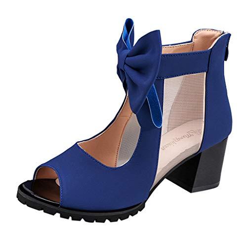 Amlaiworld  Damen Einzelne Schuhe, Frauen-Maschendraht-Fischmaul mit Sandalen High Heels Sandals Roman Shoes(Blau,40)