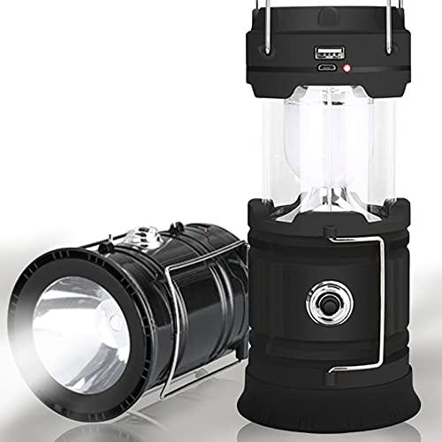 Campinglampe Camping Laternen LED Solar Laterne Wiederaufladbar USB LED Lampe Suchscheinwerfer Taschenlamp für Stromausfällen Wandern Notfall Ausfälle IP65 Wasserdicht Gartenlaterne [Energieklasse A+]