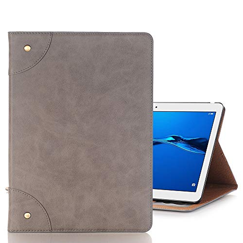 Tablet PC Shell For Huawei MediaPad M3 Lite 10 Vintage Book Style Horizontal Flip Environmental PU Leather Case with Holder & Card Slots & Wallet & Photo Frame(Black) Case Cover ( Color : Grey )