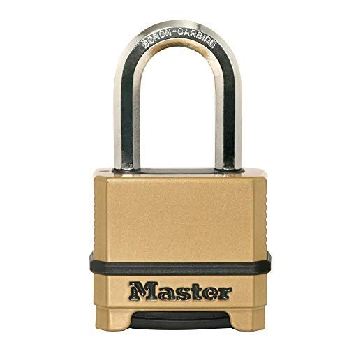 Master Lock M175XDLF Heavy Duty Outdoor Combination Lock, 1-1/2 in. Shackle, Brass Finish, Pack 4