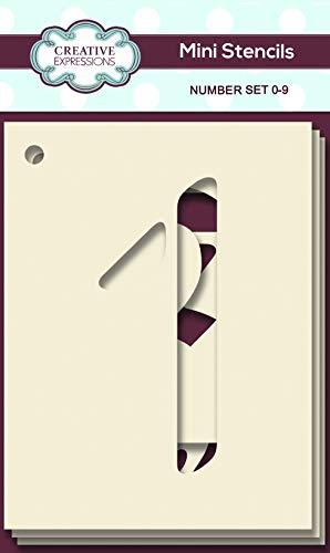 Creative Expressions Mini Stencil Number Set Juego de Plantillas para número 10, 10.4 x 7.4 cm