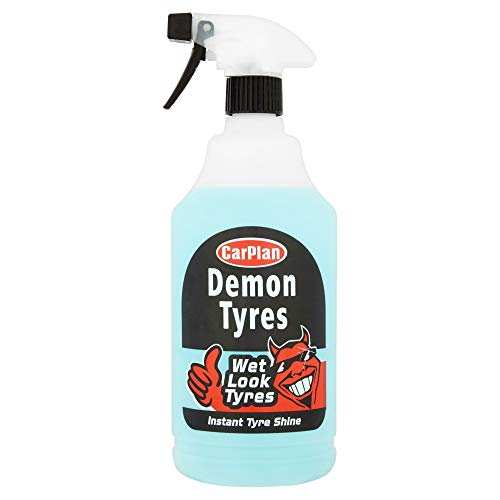 CarPlan Demon Tyres Instant Tyre Shine Cleaner Polisher Wet Look 1 Litre - Silicone Free Dressing Car Cleaning Spray Back to Black - High Performance Auto Tire - No Wipe Formula - Easy to Use