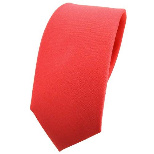 TigerTie schmale Satin Krawatte in rot rosé lachsrot einfarbig uni