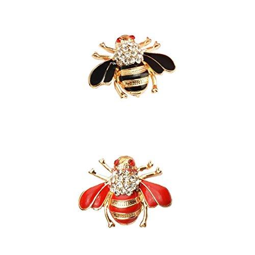 Bonarty 2Pcs Rhinestone Crystal Honeybee Broche Pin Boda Fiesta Joyería de Moda