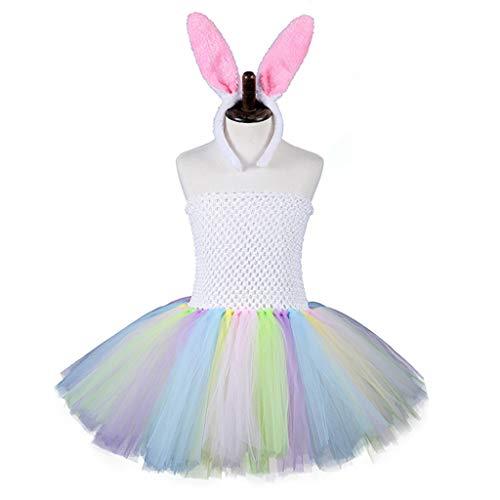 MYhose Niños Niñas Conejo de Pascua Vestido de tutú sin Tirantes Colorido con Diadema de Orejas de Conejo Vestido de bebé L