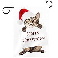 ガーデンサイン庭の装飾屋外バナー垂直旗メリークリスマス猫 オールシーズンダブルレイヤー