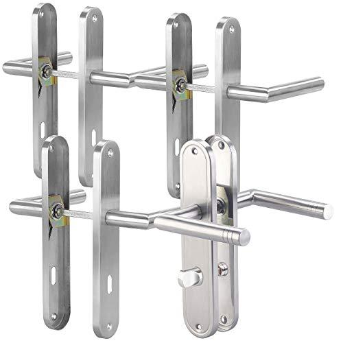 AGT Türklinken: Modernes Edelstahl-Türbeschlag-Set für 3 Zimmertüren & 1 Bad-/WC-Tür (Langschildgarnitur)