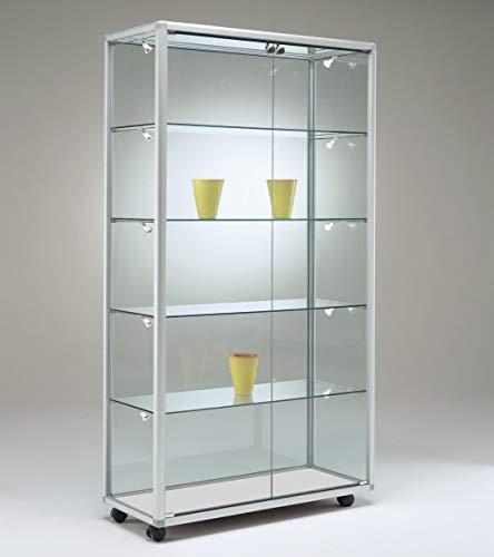 MHN breite Moderne beleuchtete Glasvitrine Ausstellung abschließbar 80 x 50 cm mit Glasrückwand/auf Rollen