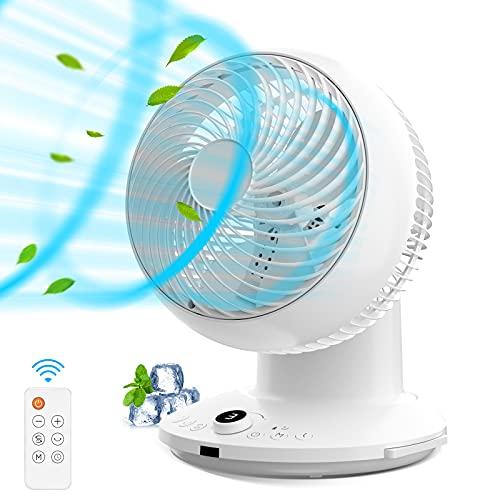 QUARED Ventilatore da Tavolo, Ventola di circolazione dell'Aria Ultra silenziosa con turbina a Rotazione Automatica a 360 °, 3 modalità, 4 velocità della Ventola, Timer, Telecomando