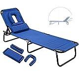 JMSL Sonnenliege Klappbar, Liegestuhl mit Kissen und Leselochgarten, Strandliege Tragbar Freizeitliege, Gartenliege UV- und...