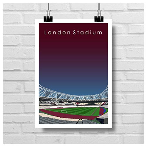 Home.Ground.Prints - Cuadro decorativo para pared, diseño de estadio de fútbol inglés de la Premier League Football Stadium de West Ham United FC