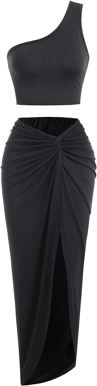 ZAFUL Women Bodycon Long Dresses, Sexy Slit Skirt Cutout Spaghetti Strap Party Club Dress Skirt Set