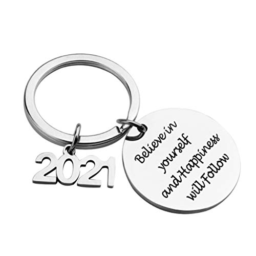Holibanna Stainless Steel Keychain Believe in Yourself and Key Ring Bag Purse Hanging Pendant
