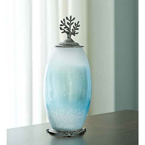 Vivaterra Recycled Glass Urn with Tree of Life Accent - Medium - 6 Dia x 15.5 H