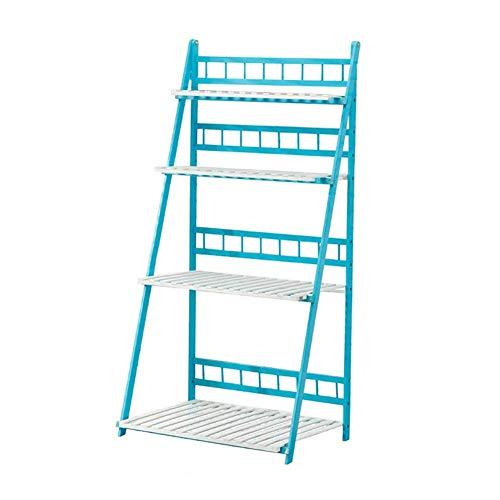 Shelves 4-Tier Collapsible Wooden Planter Ladder Floor-Standing Flower Pot Stand Balcony Potted Plant Rack Living Room Multilayer Display Shelf,100×50×140cm,Colour Name:70×50×140cm Flower Pot Rack