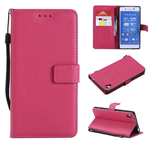 Snow Color Coque Sony Xperia Z3+ (Z3 Plus) Portefeuille, en Cuir Flip Case pour Bumper Protecteur Magnétique Fente Carte Housse Cover Coque pour Xperia Z3+ (Z3Plus) - COMS021144 Rose Rouge