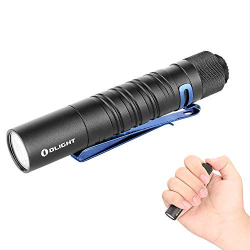 Olight I5T EOS 300 Lumens Slim EDC Flashlight Cool White LED,60 Meters Throw Tail Switch Flashlight,Powered by AA Battery,with SKYBEN Battery Box(Black)