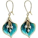 MengPa Ocean Flower Dangle Drop Earrings for Women Blue Leaf G4343
