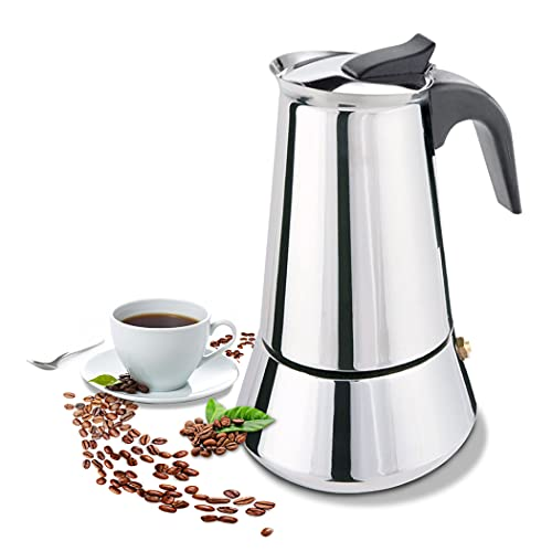 FCUS Stovetop Espresso Maker, Moka Pot, 450ml/15oz/9 Cup Percolator Italian Coffee Maker, Classic Cafe Maker, Stainless Steel, Suitable For Induction Cookers