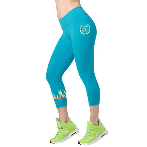 Zumba Aktiv Fitness Kompression Capri-Leggings Stilvoll Sporthose Damen mit Print, Seaside Surf, S